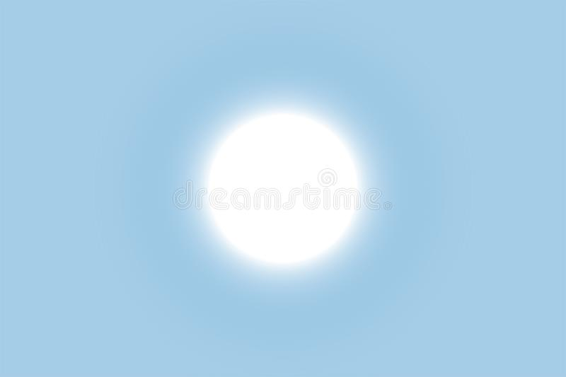 Bright sun shines in the clear blue sky. EPS 10 vector illustration