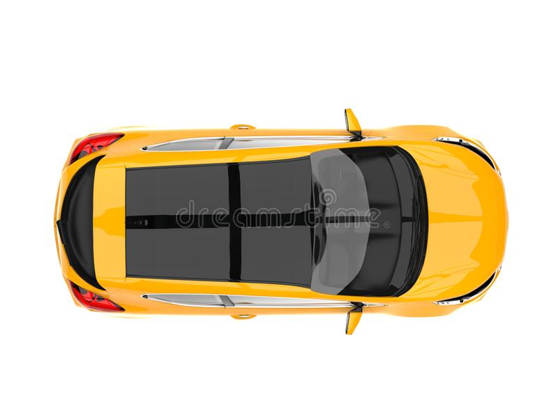 Bright sun yellow modern electric car - top down view vector illustration