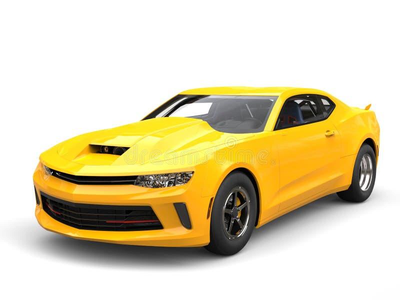 Bright sun yellow modern muscle car - beauty shot stock illustration