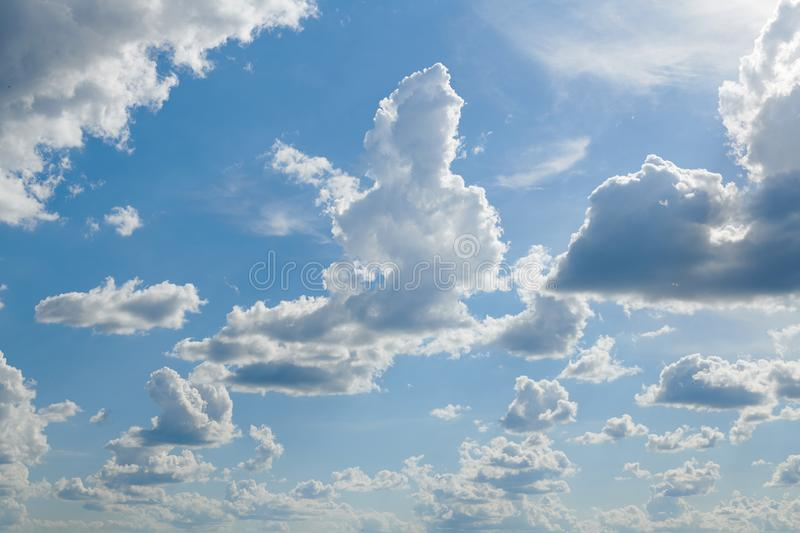 Bright sunny clouds, beautiful sky at day as background royalty free stock photo