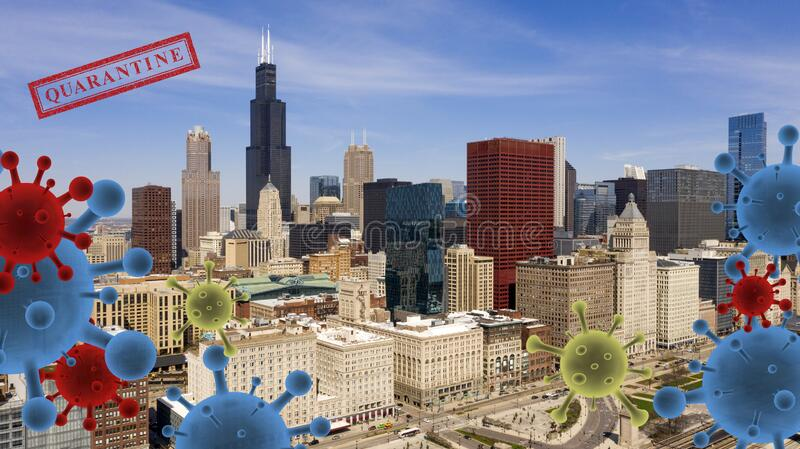 Bright Sunny Day in Chicago While the Invisable Virus Circulates. An unseen threat looms over the city as residents are told to stay indoors during Corona Virus stock image