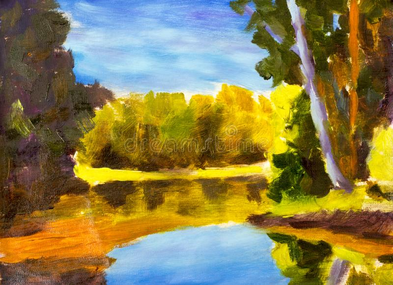 Bright sunny landscape. The painting of the forest is reflected in the water by the river. Autumn on the river etude oil on canvas. Bright sunny landscape. Oil royalty free illustration