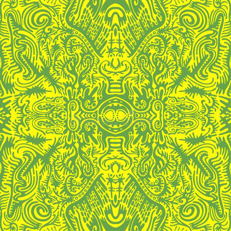 Free Bright Sunny Psychedelic Trippy Abstract Mandala With Original Patterns, Juicy Contour Green On A Yellow Background. Royalty Free Stock Image - 165675776
