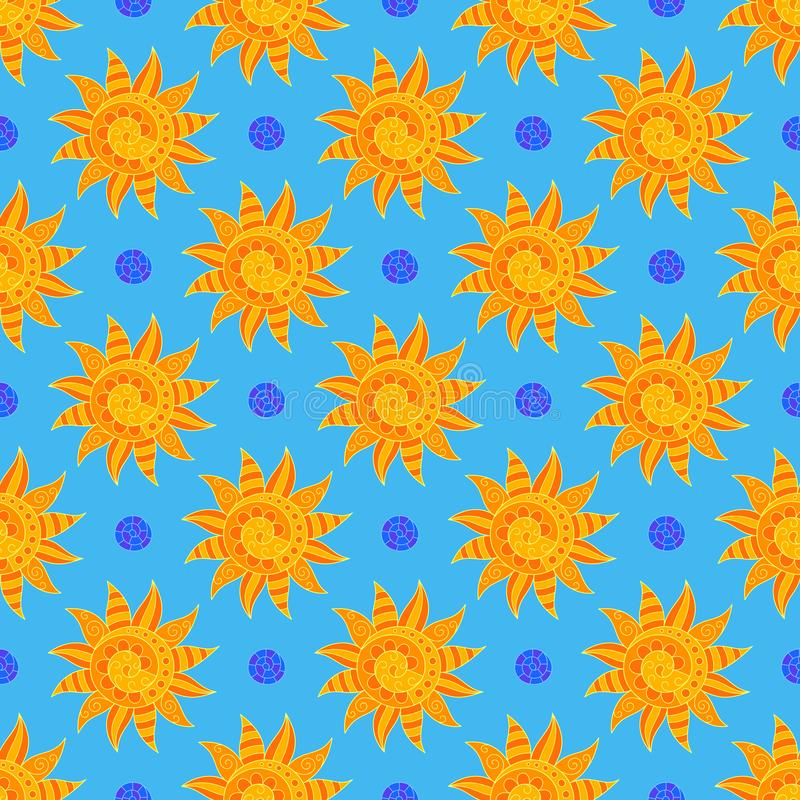 Bright Sunny Seamless Pattern of Hand-drawn Yellow Suns on Light Blue Backdrop. Continuous Symmetric Background in Doodle Art Style vector illustration