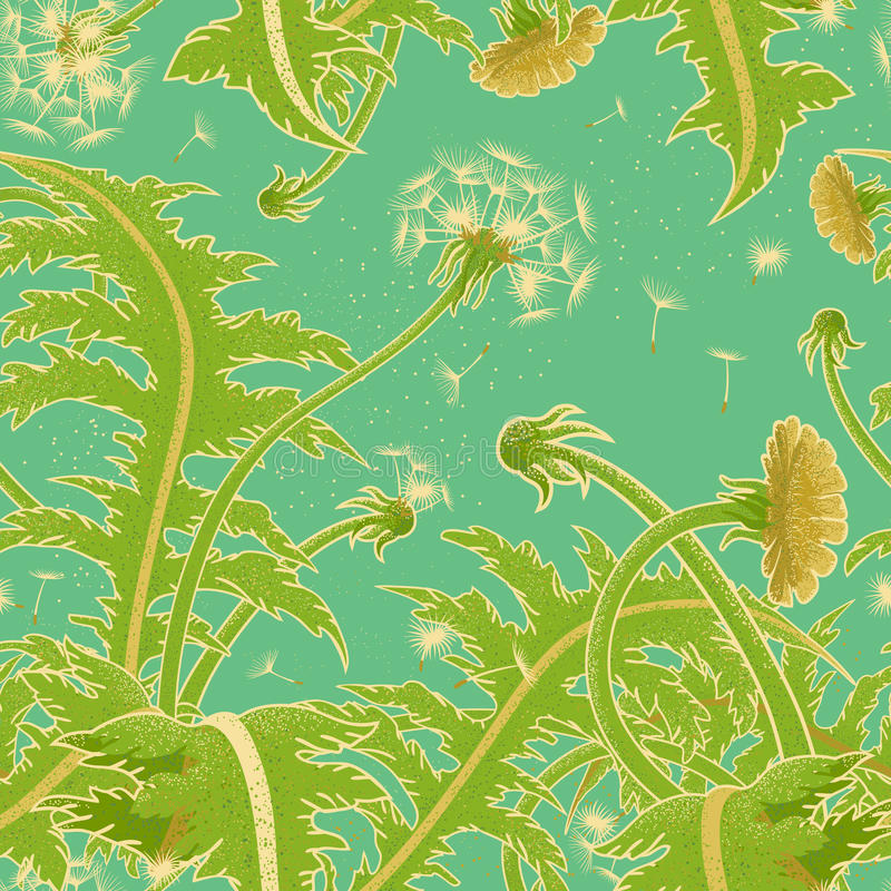 Free Bright Sunny Vector Seamless Pattern Of A Field Of Dandelion Growing On The Background Of Turquoise Sky. Blowball Fly In The Wind. Royalty Free Stock Photo - 94767275