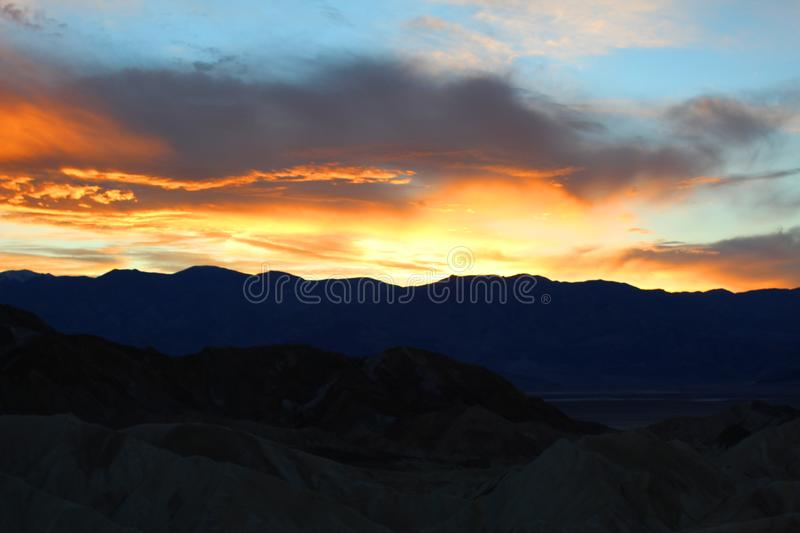 Death valley national park. Bright Sunset at death valley national park stock photo