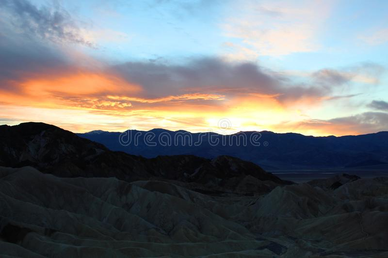 Death valley national park. Bright Sunset at death valley national park stock images