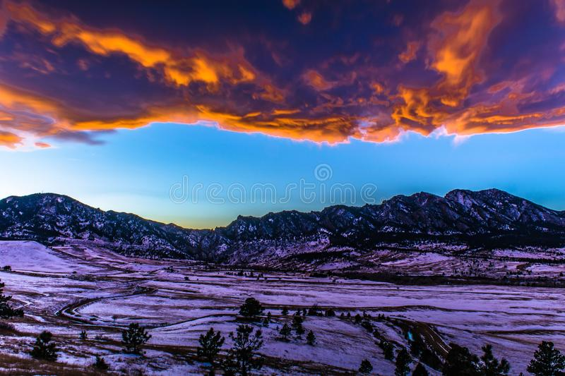 Bright Sunset at night in Boulder, Colorado stock photography
