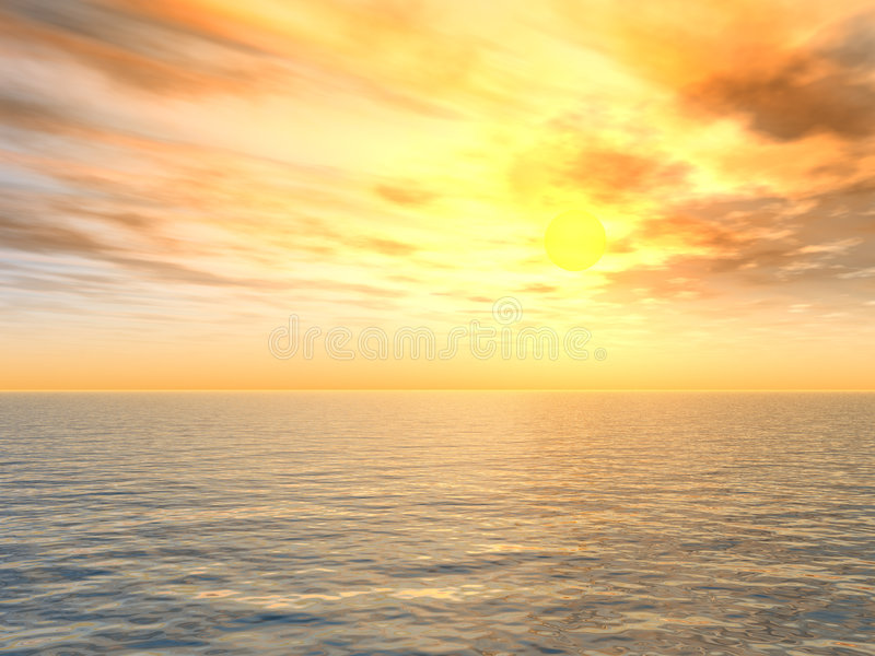 Download Bright Sunset Over Sea Royalty Free Stock Image - Image: 891186