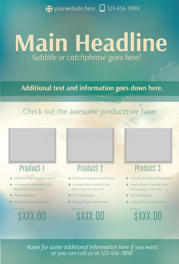 Bright teal and beige product flyer template. Blurry teal and beige product or sale flyer template stock illustration