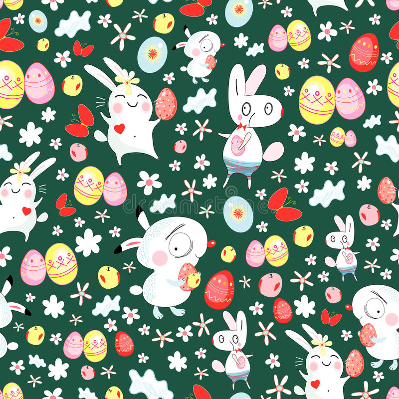 Bright texture of the Easter bunnies royalty free illustration