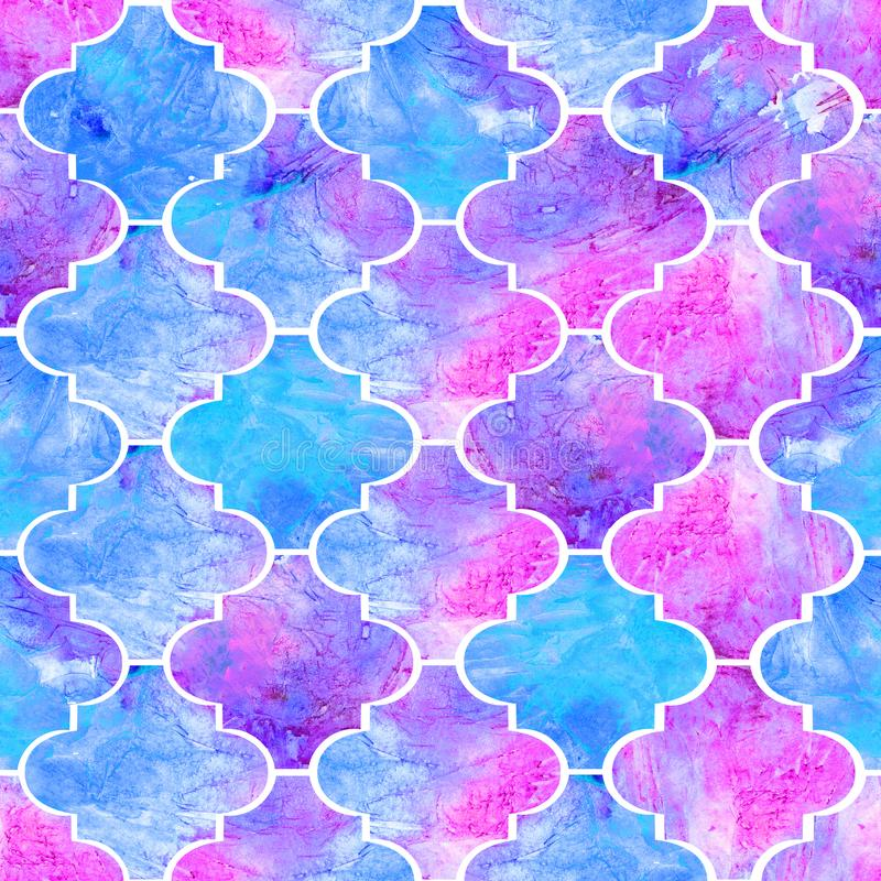 Bright tiles curly eastern geometrical shape abstract grunge colorful splashes texture, watercolor seamless pattern design in blue. And pink color palette royalty free illustration