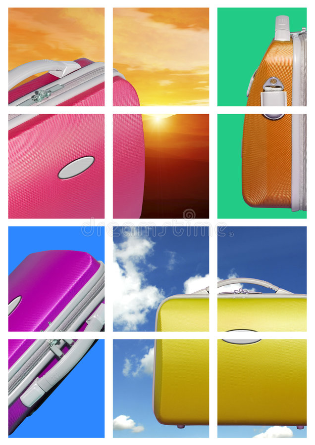 Bright travel case comp. A comp of various travel luggage cases against a colorful background of color blocks, sky, clouds and sunsets stock photo
