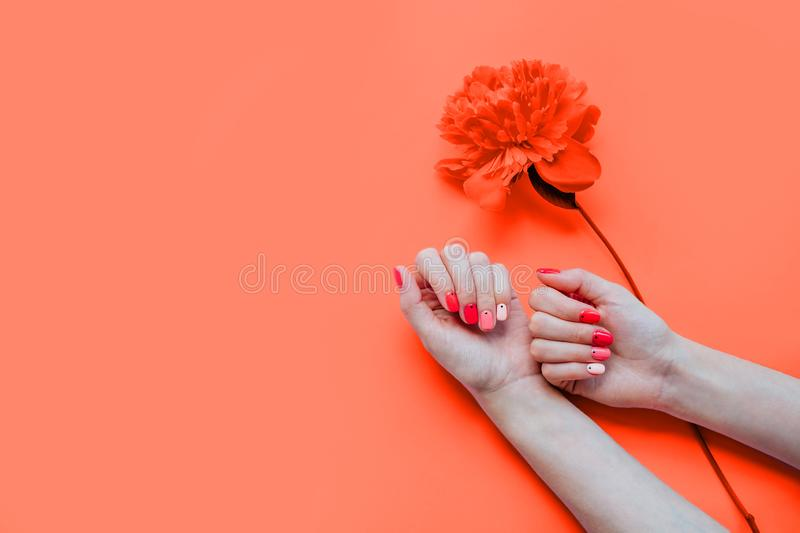 Bright trendy summer manicure stock photo