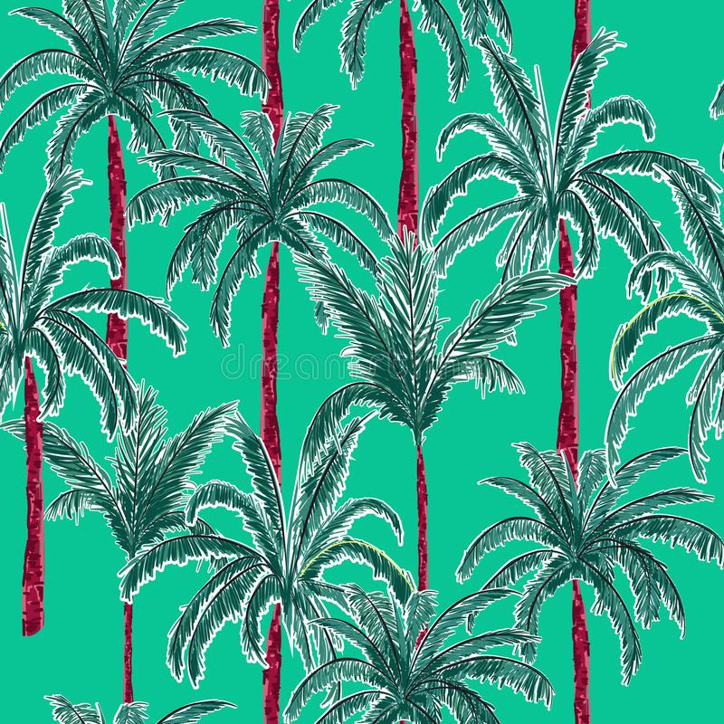Bright and trendy summer palm trees on the stylish green mint y stock illustration