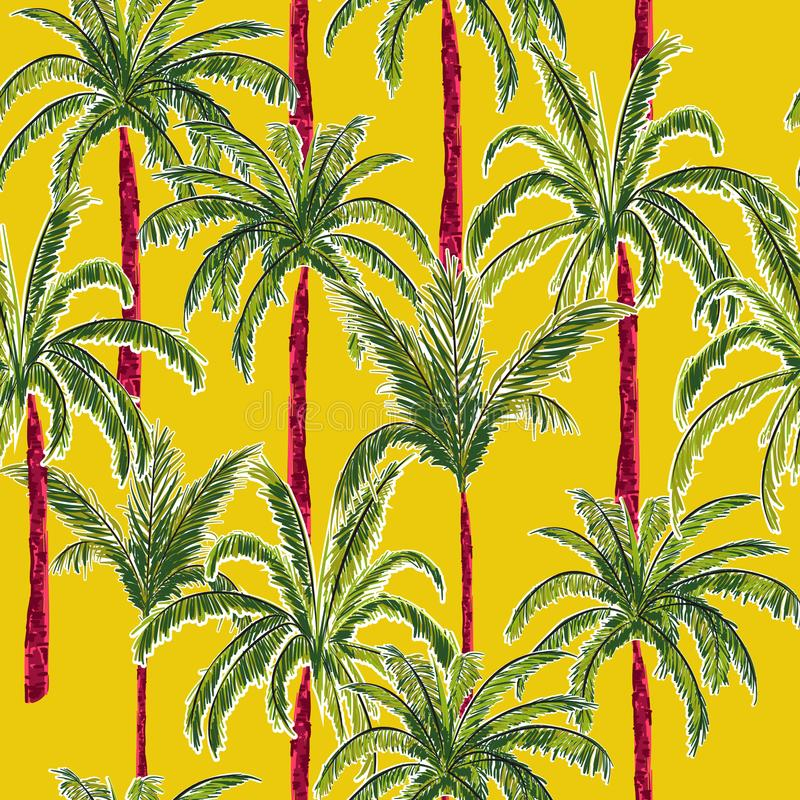 Bright and trendy summer palm trees on the stylish vivid yellow stock illustration