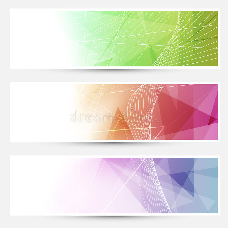 Bright triangular cards with swoosh lines. Vector illustration royalty free illustration