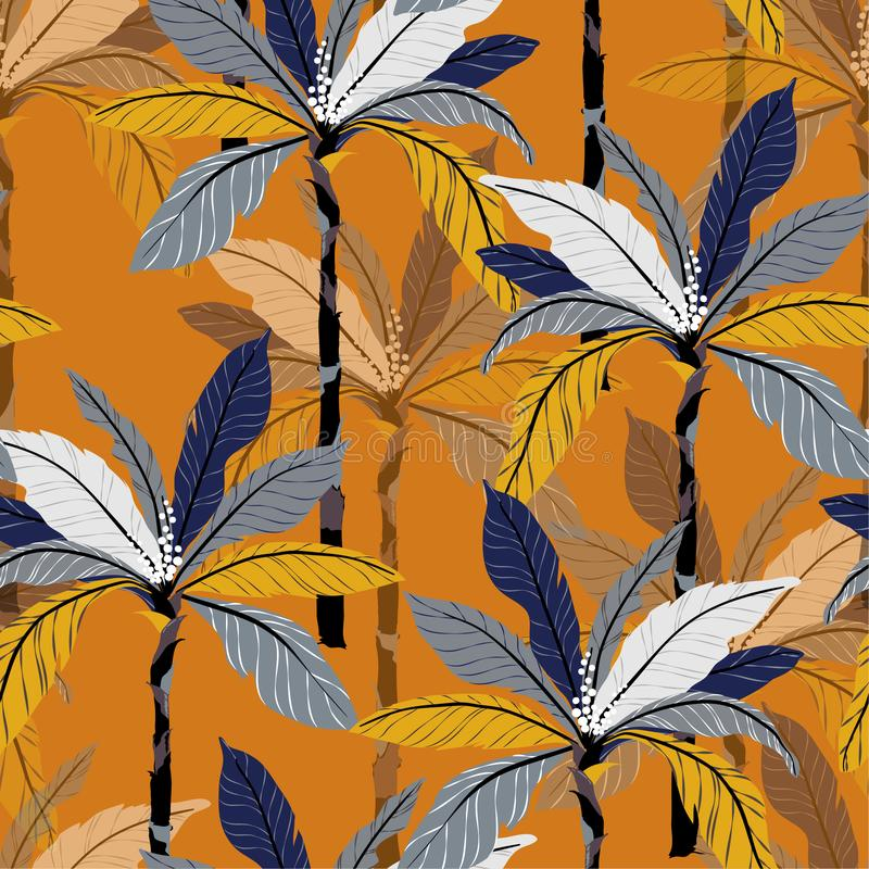 Bright Tropical jungle and colorful palm leaves, trees seamless. Pattern vector floral pattern on vintage orange background royalty free illustration