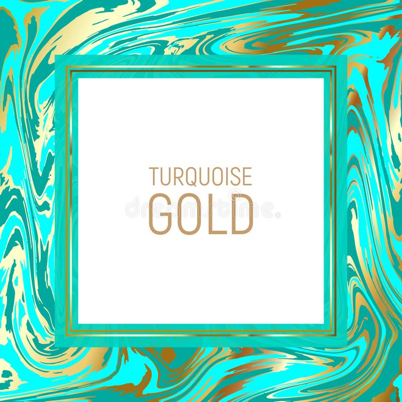 Bright turquoise blue marble paper vector texture imitation, golden streaks effect. Abstract background, vector marble texture imitation. Marbleized pattern royalty free illustration