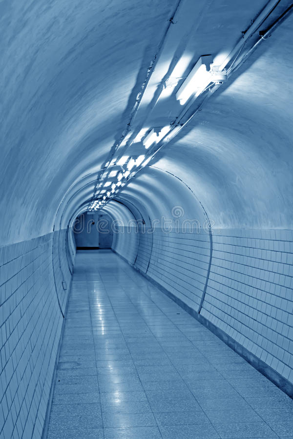 Bright underground passage stock image