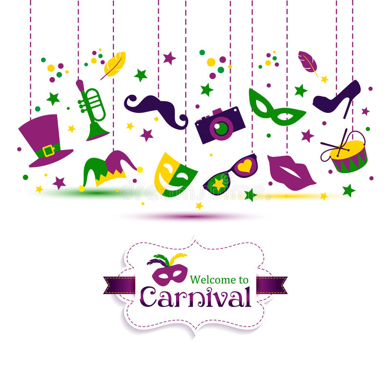 Bright vector carnival with icon in flat style and sign stock illustration