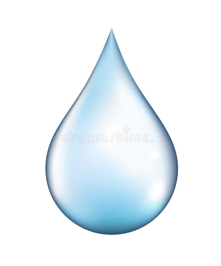 Bright vector clear water drop isolated on white background.  stock illustration
