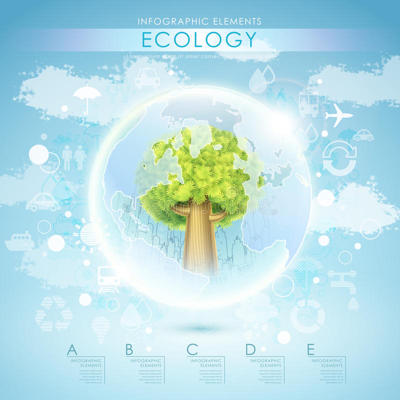 Bright vector ecology template with tree and earth stock illustration