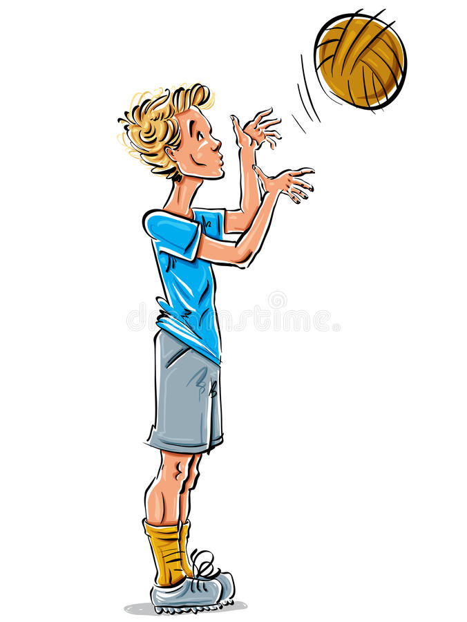 Bright vector full-length drawing of a fair-haired teen. Bright vector full-length drawing of a fair-haired Caucasian teenager with a soccer ball, cartoon hand vector illustration