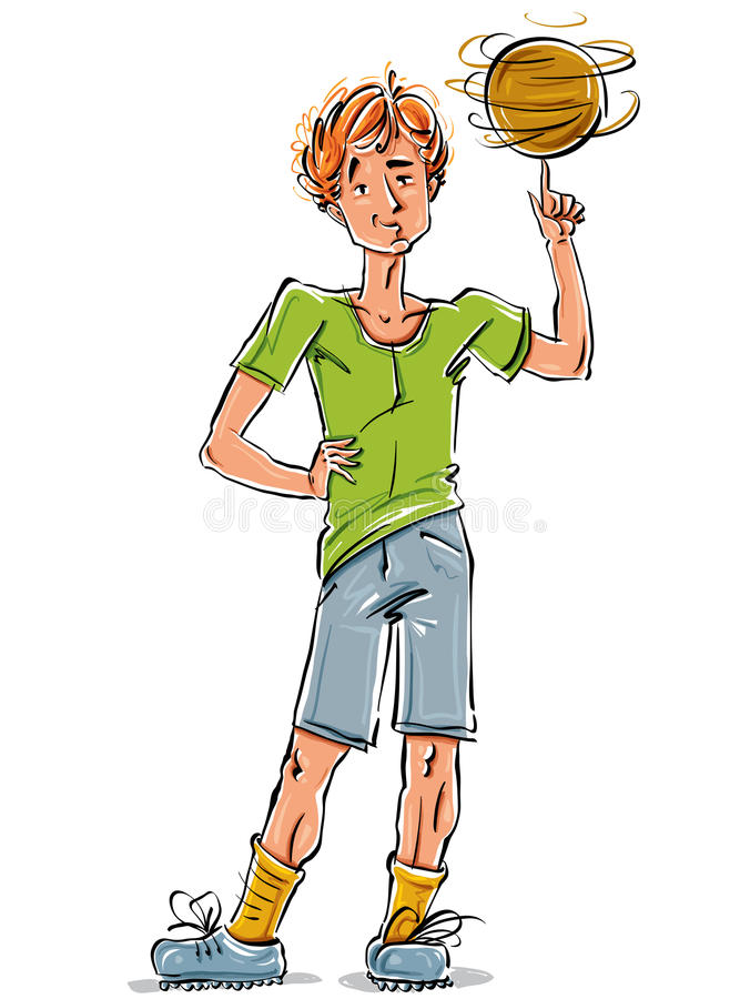 Bright vector full-length drawing of a red-haired cool Caucasian. Teenager with a soccer ball, colorful cartoon hand-drawn youngster wearing green t-shirt vector illustration