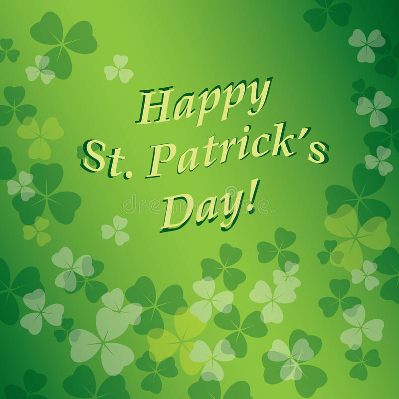 Bright vector green background with clovers - saint patricks day royalty free illustration