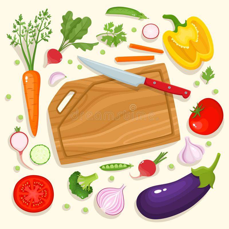 Bright vector illustration of colorful cutting board, knife and vegetables. Cooking card poster with tomatoes, pepper, onion, carrot, radish and garlic used royalty free illustration