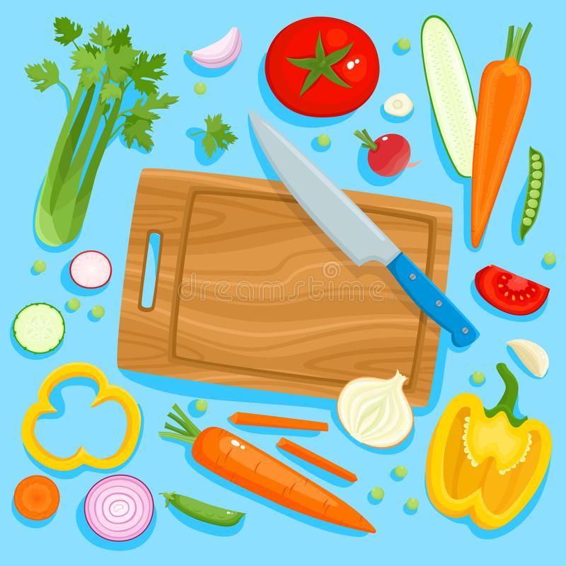 Bright vector illustration of colorful cutting board, knife and vegetables. Cooking card poster with tomatoes, pepper, onion, carrot, radish and garlic used vector illustration