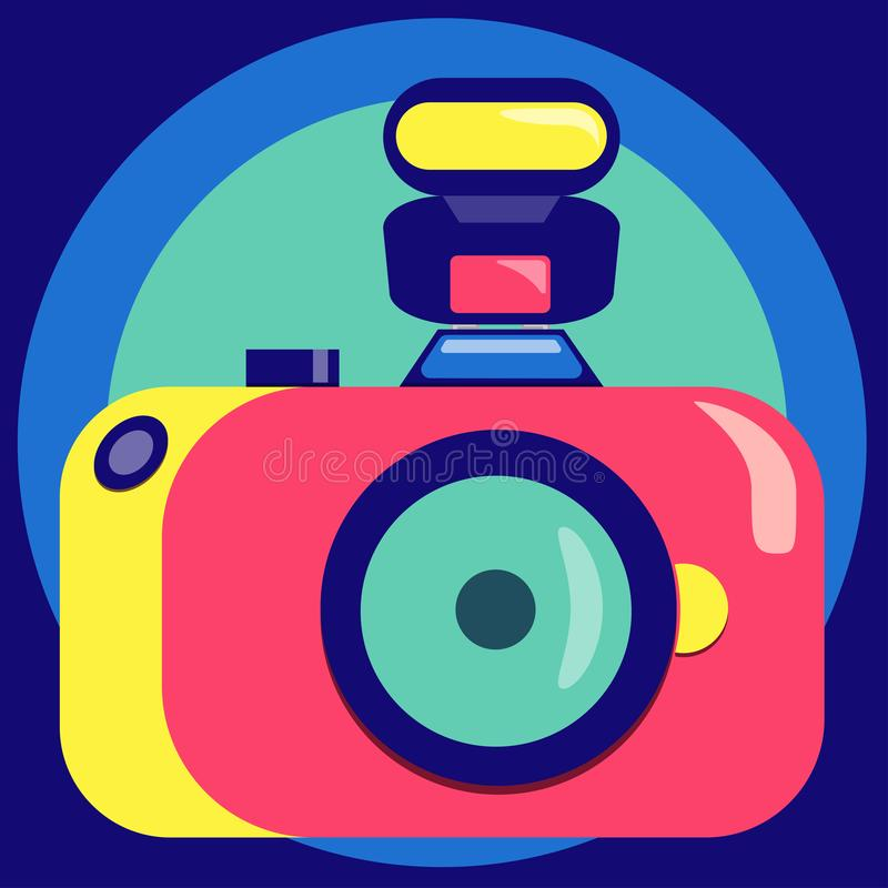 Camera with flash in bright trend colors. Vector illustration. royalty free illustration