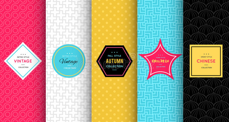 Bright vector seamless patterns royalty free illustration