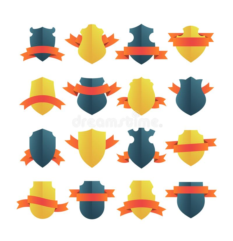 Shields With Ribbons royalty free illustration