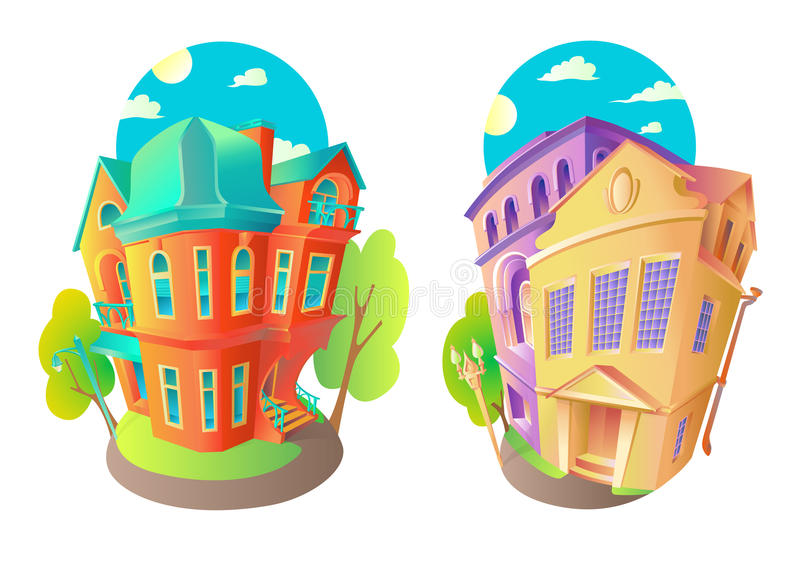 Bright vector volume icons of old houses in Victorian style and Baroque vector illustration