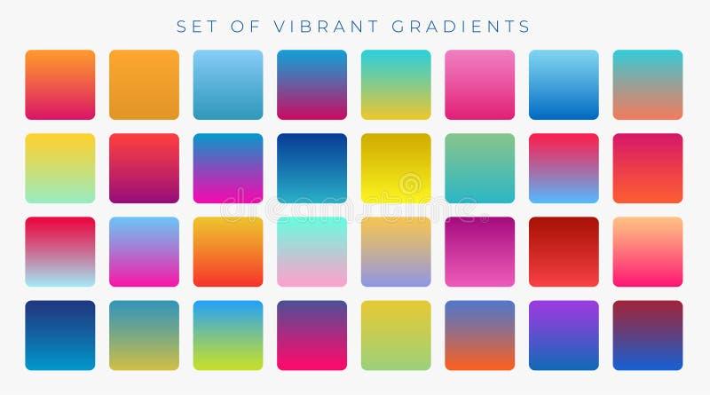 Bright vibrant set of gradients background. Vector stock illustration
