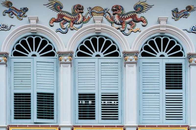 Phuket old town : Sino-Portuguese Architecture buildings. This architectural style is European mixed with Chinese modern, Thailand. Bright vintage Sino royalty free stock photo