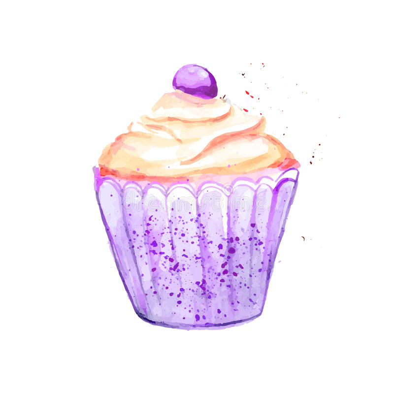 Bright violet cupcake with yellow cream and berry. Vector watercolor illustration. royalty free illustration