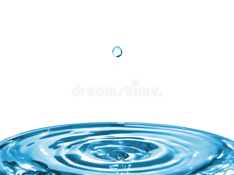 Bright Water Ripples and Falling Drop royalty free stock photography