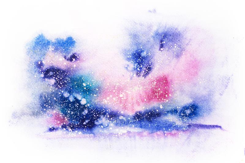 Bright watercolor blue pink purple red stain drips blobs. Abstract illustration.  stock illustration