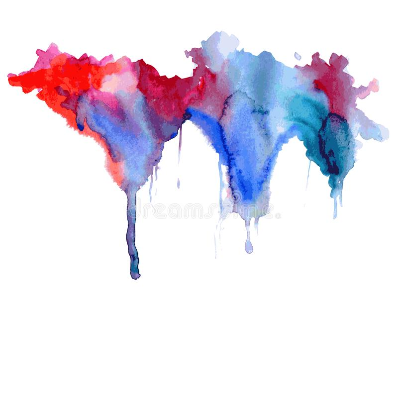 Bright watercolor blue-red stain drips. Abstract illustration on a white background. Vector vector illustration