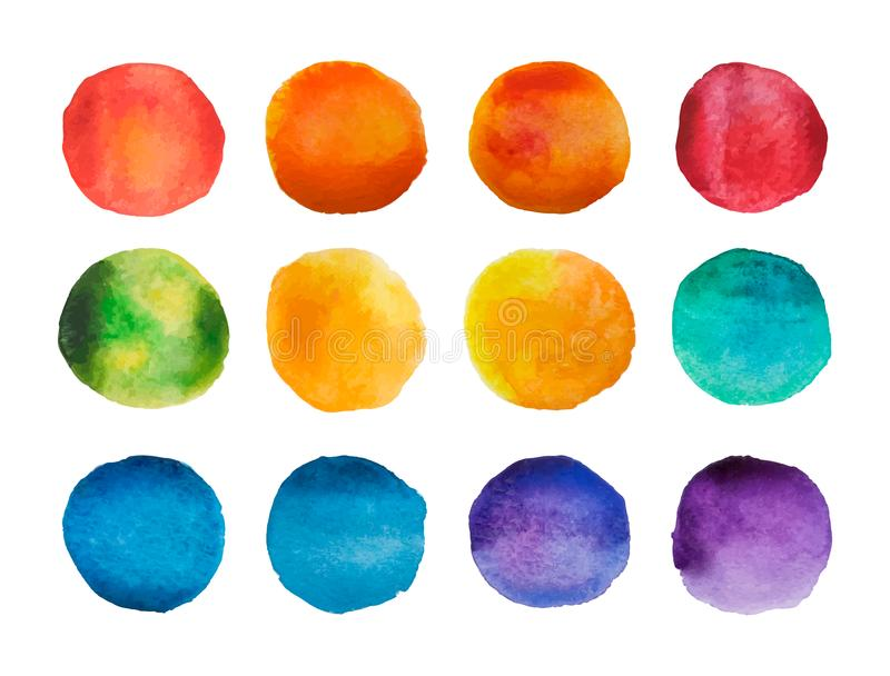 Bright watercolor circles set. Rainbow watercolour stains collection. Vector illustration royalty free illustration