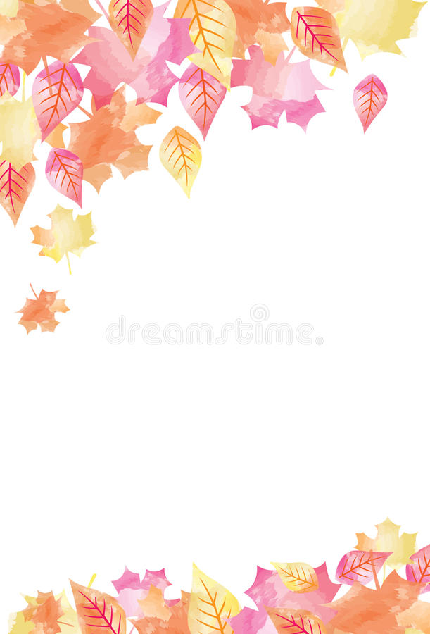 Bright Watercolor Fall Autumn Leaves Background 1.  stock illustration