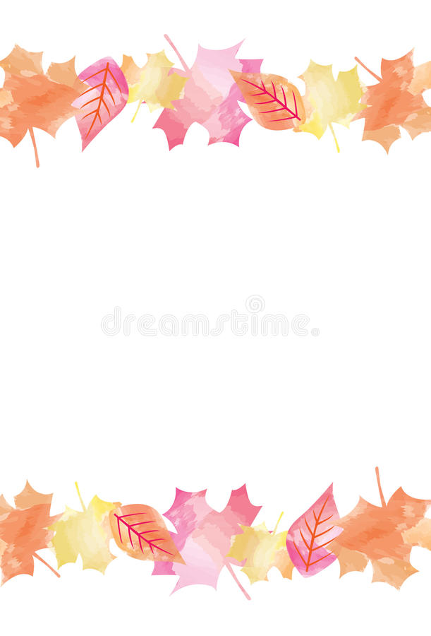 Bright Watercolor Fall Autumn Leaves Vector Background 2.  royalty free illustration