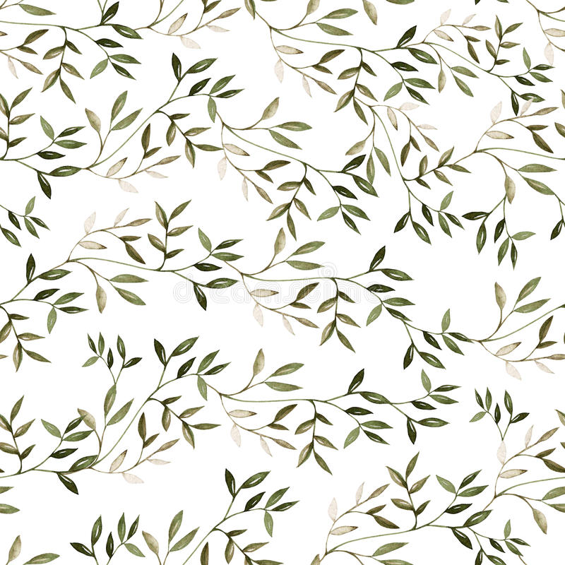 Bright watercolor pattern with leaves. royalty free illustration