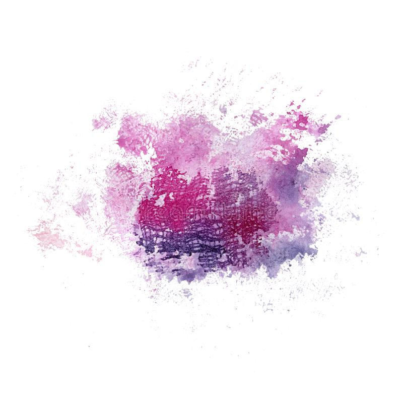 Bright watercolor pink and blue stain with textile texture. Abstract illustration on a white background royalty free illustration