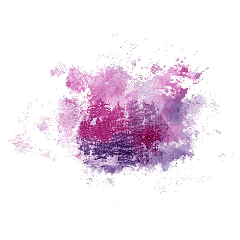 Bright watercolor pink and blue stain with textile texture. Abstract illustration on a white background. Vector stock illustration