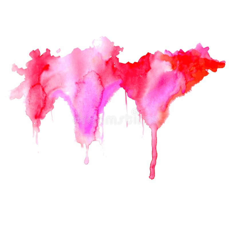 Bright watercolor pink-red stain drips. Abstract illustration on a white background. Vector vector illustration