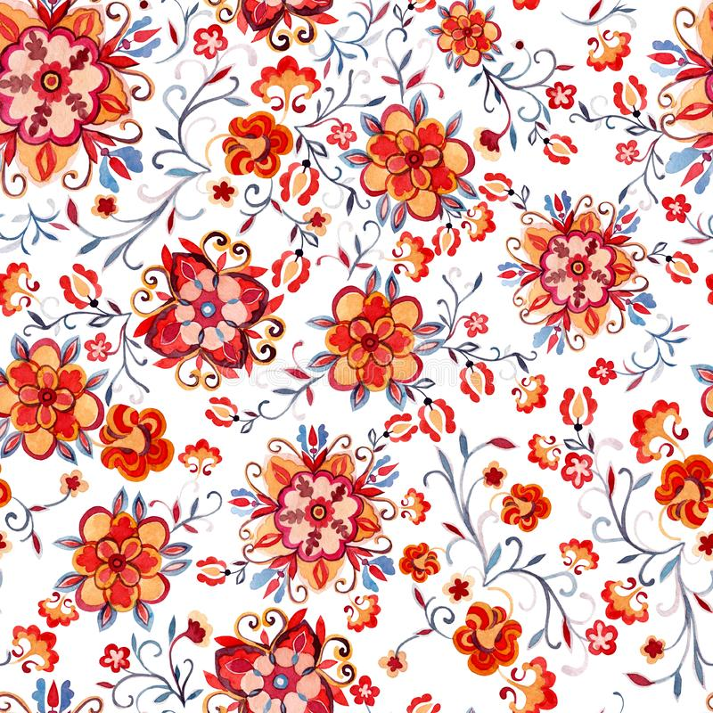 Bright watercolor seamless pattern with decorative flowers. stock illustration